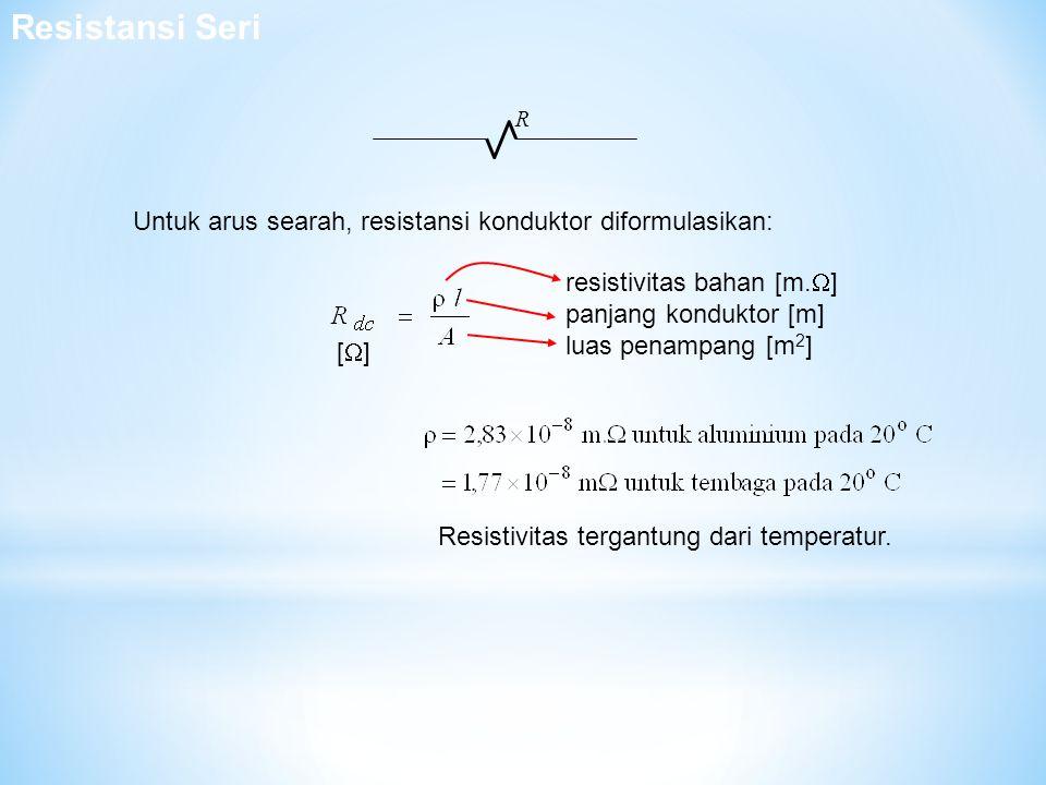 Resistansi Seri R. Untuk arus searah, resistansi konduktor diformulasikan: resistivitas bahan [m.]